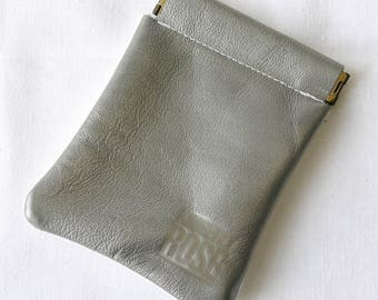 Upcycled Leather Coin Purse / Flex frame leather pouch / White and Silver pinch frame pouch / Small Leather Wallet