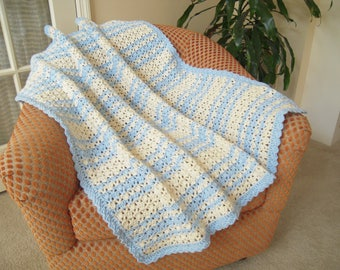 "Crocheted Baby Afghan/Blanket/Throw, Aran/Light Blue, 37""W x 39""L"