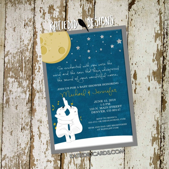 the night you were born theme | surprise gender reveal | co-ed baby shower | little girl boy 1st birthday invitation | 1422 katiedid designs