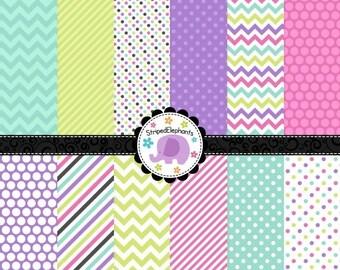40% OFF SALE Bubblegum Digital Paper Pack, Spring Digital Scrapbooking Paper, Baby Digital Backgrounds, Instant Download, Commercial Use