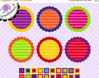 40% OFF SALE Scalloped Journaling Spots Clipart - Instant Delivery - Commercial Use
