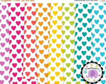 40% OFF SALE Heart Digital Papers 2, Hearts Digital Scrapbook Paper, Hearts Digital Backgrounds, Instant Download, Commercial Use