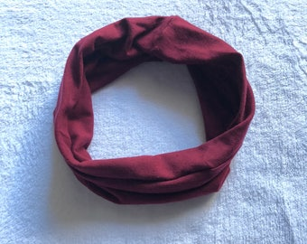 Solid color Burgundy red no Print Baby or Toddler Infinity Scarf Infant to 6 yrs Single Loop Drool Bib Catcher unisex girls or boys Maroon