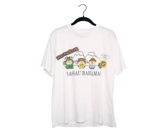 Vintage Rasta Park South Park Cartoon Nassau Bahamas Tourist Shirt No Problem Mon! White Tourist T-Shirt, Made in Bahamas - Large
