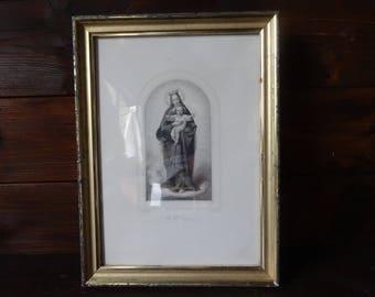 Antique French Print Saint La Ste Vierge Catholic Religious framed glass fronted circa 1900's / English Shop