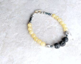 Essential oil diffuser, Bracelet, yellow and black, lava bead bracelet, yellow jade, summer fashion, gifts for women, mothers day gift, mom