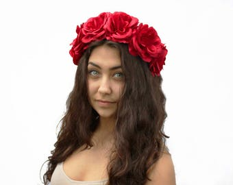 July 4th Red Rose Flower Crown, Red Rose Headband, 4th of July, Floral Crown, Red Flower Crown, Red Floral Crown, Rose Crown, Red, Boho