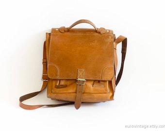 Vintage Satchel Brown Leather Bag Briefcase Brown Large Messenger Bag 70s