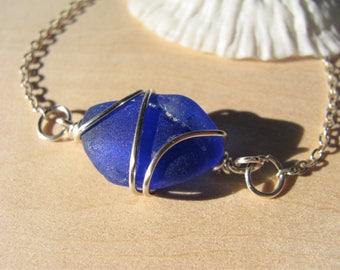 Sea Glass Jewelry Cobalt Blue Real Sea Glass Bracelet royal blue beach glass jewelry gift beach bracelet genuine natural bracelet OOAK real