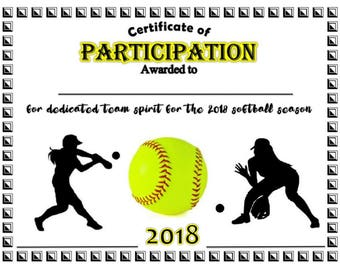 softball certificates  EDITABLE Softball Certificates INSTANT DOWNLOAD Softball