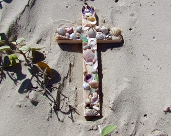 Shell Wall Cross in Light Coral