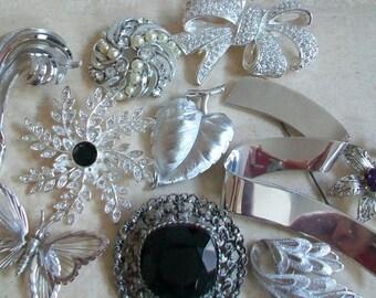Vintage silver brooch lot, brooch destash, wearable, jewelry destash, butterfly, large bow, rhinestone, Monet, Roman, Trifari, modernist