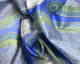 Long silk shawl hand painted blue - silk scarf blue floral butterfly design - Silk accessories OOAK for order