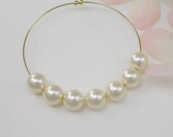 1/2/3/4/5/6/7/8/9 Pearl Bangle Bracelet, Cream White Swarovski Pearl, Pearl Bracelet Wedding, Pearl Bracelet Bridesmaid, Anniversary Gift