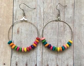 Wooden rainbow beaded dangle earrings