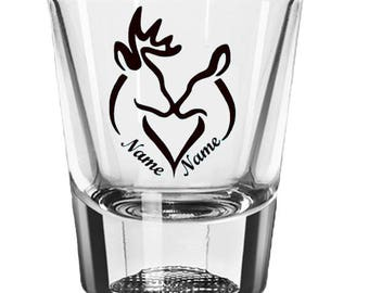 Deer Shot Glass, His and Hers Wedding Couple Gift, Hunting Gifts, Bride and Groom, Personalized Custom 2oz Shot Glass