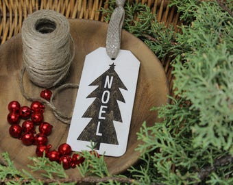 Noel - Christmas Tree - Christmas - Tag - Ornament - for Rustic, Farmhouse, Boho, Primitive Styles