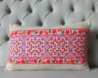 Vintage Hmong  cushion cover, Cross stitch Hemp Fabric-vintage Homespun hemp,Decorative Cushion & Pillows