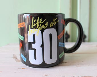 Vintage Life Begins at 30 Coffee Mug.....retro housewares. birthday. gift. kitsch. 30th birthday. old fart. over the hill. gag gift. comical
