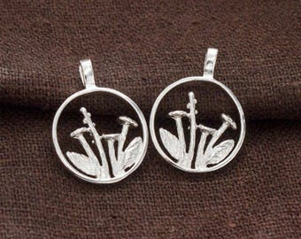 2 of 925 Sterling Silver Wild Flower Pendants  15mm.  Polish Finished :tm0176