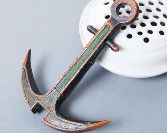 SALE... Vintage metal corkscrew stylized as mooring. Bottle opener.
