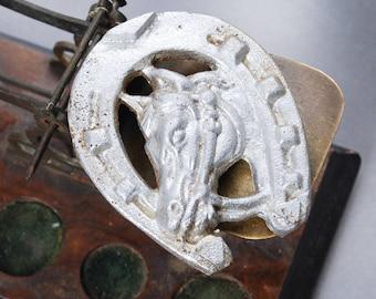 Vintage plate, metal embellishment, small horseshoe