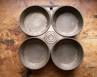 Vintage 4-up Muffin Tins - Dark Baking Pans - Industrial Kitchen Decor - Multiples Available