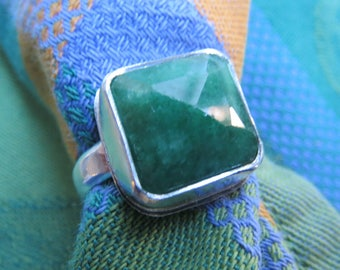 Square Cut Genuine Emerald in Argentium Sterling Ring Size 9