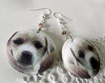 Cloth earrings, dog
