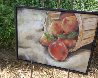 Peaches.  Acrylic on canvas.  Fresh from the south of France.  You can almost taste these.