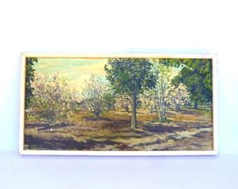 Vintage IMPRESSIONIST OIL PAINTING / Apple Orchard