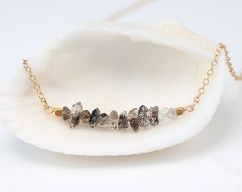 Raw Diamond Necklace, Herkimer Diamond Bar Necklace, Birthday Gift for Her, Raw Stone Necklace, Layering Necklace, Beaded Necklace, Dainty