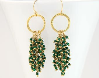 Beaded Malachite Fringe Earrings, Green Tassel Earrings, Gemstone Cluster Earrings, Bauble Earrings, Statement Jewelry, Boho Trends, Gift