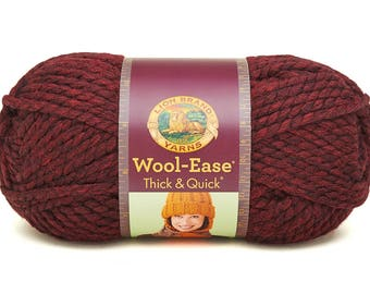 DeStash Yarn - Lion Brand Wool Ease Thick & Quick, Super Bulky Wool Blend Yarn, Raspberry Pink
