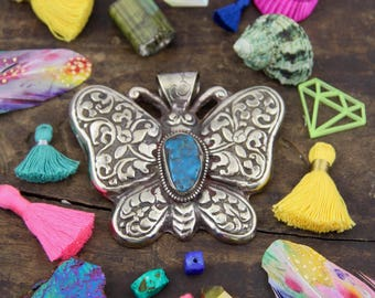 Garden Butterfly: Nepali Silver Tibetian Turquoise Relief Handmade Large Pendant, Boho Tribal Jewelry Making Supply, Bohemian Summer Fashion