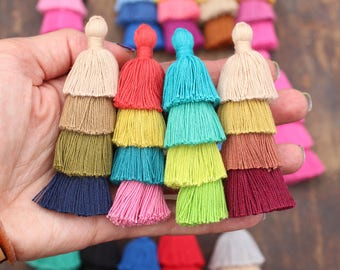 "Tiered Tassels New FALL Colors, 3"" Handmade Cotton Tassel for Earring/Necklace Making, Jewelry DIY, Ombre Colors, Layered Tassels, 1 piece"