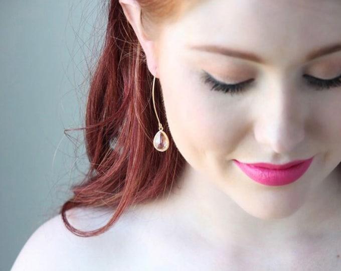 Champagne Drop Earrings. Bridesmaid. Wedding Jewelry. Bridal Jewelry. Blush Peach Champagne Drop Earrings. Jewelry. Simple Earrings.