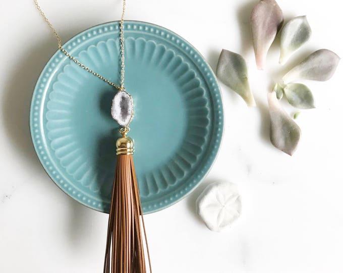 Tassel Necklace. Brown Leather Tassel Necklace with Druzy. Earthy Tassel Necklace. Long Tassel Necklace. Boho Tassel Jewelry.