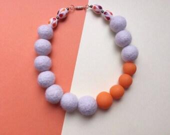 SALE, Felt necklace, clay necklace, felt bead necklace, felted jewellery, orange necklace, wool bead necklace, felt ball necklace