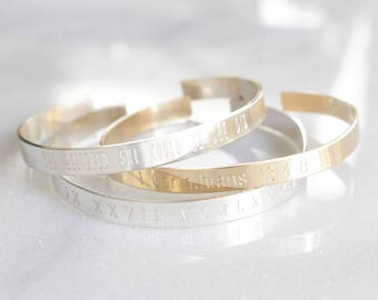Personalized Engraved Cuff Bracelet-Create Your Own, Personalized Engraved, Bible Verse, Longitude Latitude, GPS Coordinates, Roman Numerals