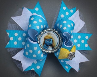 Smurfs Bow, Smurf Bow, Smurfette Bow, The Smurfs Bow, Smurfs Birthday Bow, Smurfs Party Bow, Smurfs Hair Bows, Smurfette Hair Bow, Smurfs