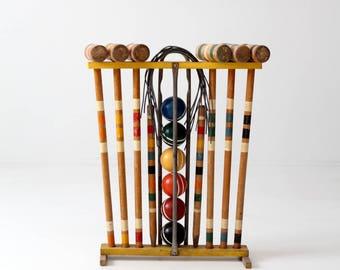 vintage croquet set, mid century lawn game