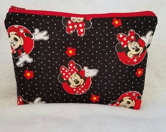 Ready to ship//Minnie Mouse Large Cosmetic/accessory Pouch