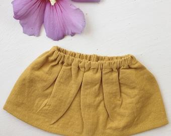 ADD ON || waldorf doll skirt, mustard yellow linen