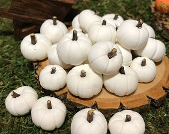 Fairy Garden white Pumpkins with willow tree stems, polymer clay, primitive pumpkins