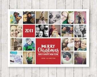 "2017 Christmas Card - DIGITAL DOWNLOAD - 5"" x 7"" - Instagram Collage Plus"