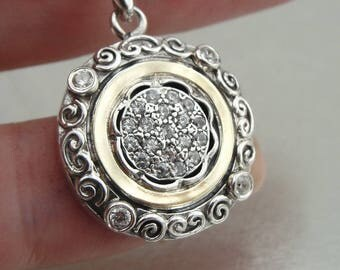 Pendant , white zircin , Handmade 9K yellow gold ,Sterling Silver Gift,Vintage pendant white zircon  Round pendant (ms 1209p