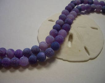 Dragons veins agate, 6mm purple, frosted, full strand, agate beads, round beads, 6mm gemstone beads, fire dragons veins, lavender, frosted
