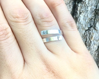 Sterling Silver Hand Stamped Ring, Initial Ring, Name Ring, Spiral Ring, Personalized Ring, Stacking Rings