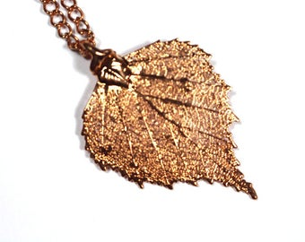 Real Birch leaf rose gold pendant necklace with rose gold chain
